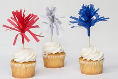 Cupcake Toppers || Red, White and Blue || Set of 12 on Etsy, $6.00