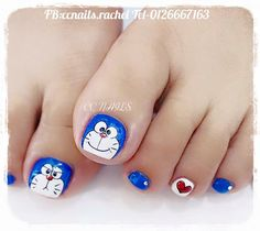 Feet Nail Design, Toe Nail Designs, Pretty Toe Nails, Cute Toe Nails, Pedicure Nail Art, Toe Nail Art, Nail Art For Kids, Animal Nail Art, Acrylic Nails Coffin Short