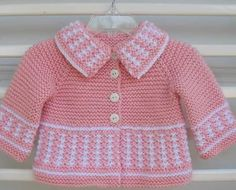 Baby Knitting Patterns, Baby Cardigan Knitting Pattern, Knitting For Kids, Crochet For Kids, Crochet Baby, Knit Crochet, Baby Girl Dresses, Baby Dress, Baby Crafts