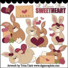 Valentine Bunnies Clip Art - Original Artwork by Trina Clark