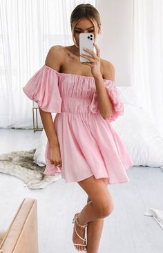 Pink Dress Outfits, Pink Dress Casual, Pink Prom Dresses, Pretty Dresses, Beautiful Dresses, Casual Dresses, Short Dresses, Pastel Pink Dresses, Light Pink Dresses