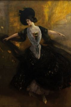 Dancer in Black Albert von Keller (German, Oil on canvas. A recurring theme in the oeuvre of von Keller is the representation of women. The atmosphere ranges from gloomy, mystical. Canvas Art Prints, Oil On Canvas, Art Nouveau, Muse, Victorian Life, Dance Paintings, Post Impressionism, Creative Colour, Dance Art