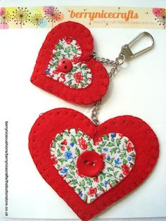 Red Double Heart Key Ring or Bag Charm by BerryNiceCushions, £3.00 #christmas #stockingfiller