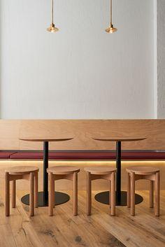 Brass wall light, bar pendants, pendants designed and made by Mance Design Space: Mr Miyagi, Yukie's Snack Bar, Windsor, Melbourne Interior by: P-E-K Studio Photography: Dan Hocking
