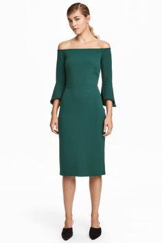Sukienka z odkrytymi ramionami - Zielony - ONA | H&M PL 1