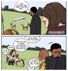 Bucky's time on Wakanda Avengers Memes, Marvel Memes, Marvel Dc Comics, Marvel Avengers, Avengers Bloopers, Avengers Fan Art, Stucky, Univers Marvel, Dc Memes