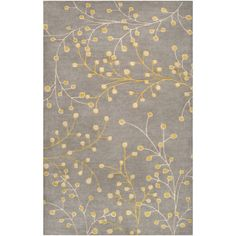 Athena Gray Yellow And Cream Hearth: 2 Ft. X 4 Ft. Rug Surya Rugs Area Rugs Rugs Home Deco