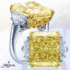 An exquisite 3 stone engagement ring with a fancy yellow radiant diamond center and trapezoid diamond sides