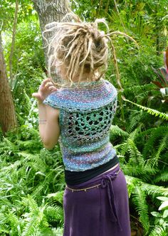 Gypsy Jewels Crochet Mandala Lace Up Pixie Vest