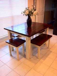Farm House Table DIY farmhouse breakfast table----AHHH my dream table! I love the benches, the colors, everything. Now to convice my wonderful hubby :))) Small Kitchen Tables, Farmhouse Kitchen Tables, Farmhouse Decor, Farmhouse Bench, Modern Farmhouse, Small Square Dining Table, White Farmhouse, Farmhouse Style, Small Tables