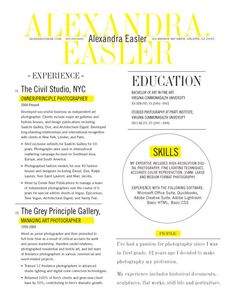 Resume Template | New Yorker Yellow – Loft Resumes This is an example of a creative resume.  Use caution executing this type of layout if you are not pursuing work in a creative field.