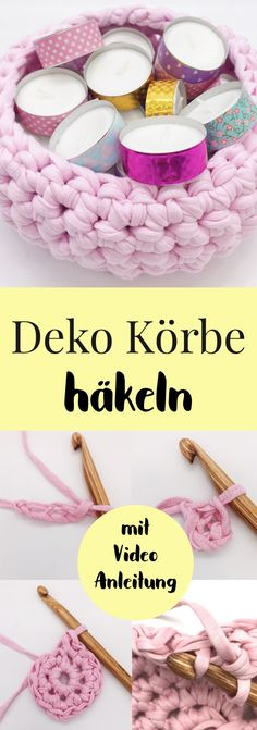 Crochet baskets - living ideas and DIY decoration with OTTO with videoMake DIY baskets yourself. Crochet baskets yourself as decoration and storage. Simple crochet pattern for a basket in German. Simple crochet pattern for beautiful Home Decor Baskets, Basket Decoration, Crochet Decoration, Crochet Simple, Easy Crochet Patterns, Yarn Storage, Storage Basket, Crochet Storage, Diy Storage