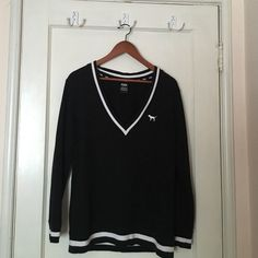 "Victoria's Secret Oversized Sweatshirt V Neck black and white VS ""Pink"" sweatshirt in great condition, no fading or holes PINK Victoria's Secret Sweaters V-Necks"