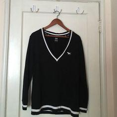 "Victoria's Secret Oversized Sweatshirt V Neck black and white VS ""Pink"" sweatshirt in great condition, no fading or holes PINK Victoria's Secret Sweaters V-Necks"