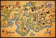 Pokemon's Johto Map with the Middle Earth map style