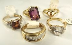 18K Goldplated rings vintage lot of 5 , Size 6, USA made, CZs, marked,(LotM64)NR #AmericanRing #Variety