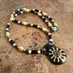 Tribal Necklace for Men, Black Brown and White Stone, Natural Wood, Bone, Handmade Mens Tribal Jewelry, Unisex on Etsy, $29.95