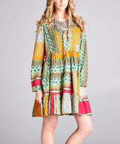 Another great find on #zulily! Orange & Coral Notch Neck Tunic Dress - Plus #zulilyfinds