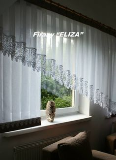 Linen Curtains, Curtains With Blinds, Window Curtains, Kitchen Curtain Designs, Kitchen Curtains, Shades Blinds, Window Art, Room Organization, Cozy House