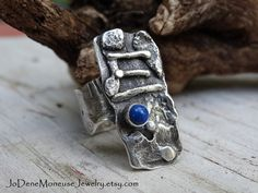 Rustic, one of a kind, statement ring, hand fabricated fused sterling silver $85.00 by JoDeneMoneuseJewelry