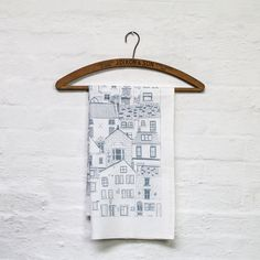 Coastal Cottages tea towel - kitchen textiles - designed and printed in the UK - stylish stationery and homewares by Jessica Hogarth