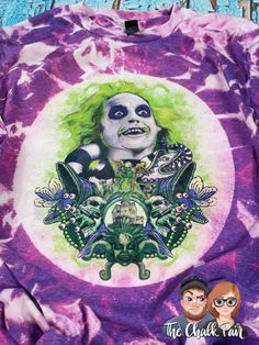 Beetlejuice Showtime  Bleached Shirt (Made To Order: Up To 21 Business Days) - 3XL / Heather Purple