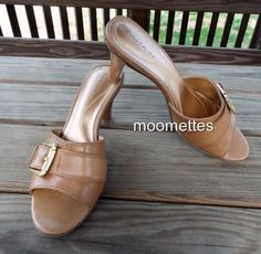 Tahari Beige Leather Slides Bedford Sandals Buckle Pump Heels 8.5M Shoes Medium #Tahari #MulesOpenToe