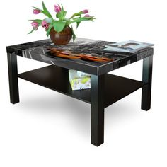 New Coffee Table Fancy Black Brown with motive: New York Taxi