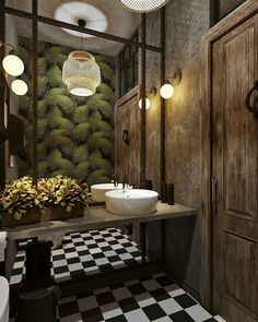 restaurant bathroom Kinza / Restaurant visualization by Dmitry Kravtsov Architects: Semen Vishnyakov, Alexandra Borisova Restaurant Design, Restaurant Bad, Restaurant Bathroom, Toilet Restaurant, Industrial Bathroom Design, Industrial Interiors, Bathroom Design Small, Bathroom Interior, Bathroom Remodeling