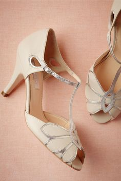 Ivory Mimosa T-Strap Shoes from BHLDN