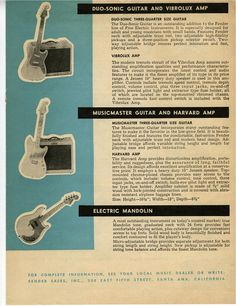 Ad for the Duo Sonic, Musicmaster, and Mandocaster.