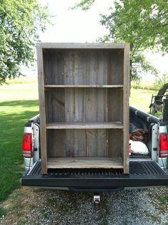 Barn wood bookshelf made from recycled, Ohio salvaged, #barnwood #furniture #shelf #shelves