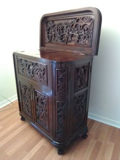 Mint Condition Almost Antique Carved Teak Cocktail Cabinet from Hong Kong Bottle Rack, Wine Cabinets, Wood Bars, Teak Wood, Hong Kong, Liquor, Hand Carved, Home Improvement, Conditioner
