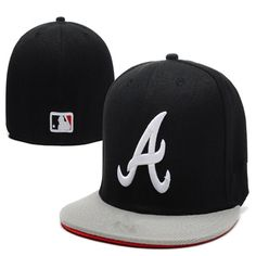 Wholesale Atlanta Braves Fitted Caps A letter Full closure cap embroidered baseball  team size flat Brim Braves hats 4396fbccac67