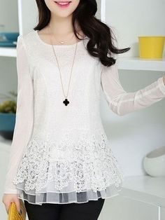 Buy Round Neck Lace Plain Long-sleeve-t-shirt online with cheap prices and discover fashion Long sleeve T-shirts at Fashionmia.com.