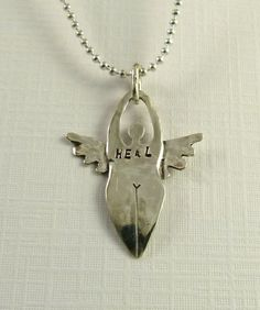 Angel Ardis Is Healing - Up Cycled Sterling Silver - Art Jewelry Pendant - 1451