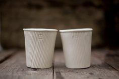 Two white mug. Ceramic drinking vessel. Excellent for herbal or green tea, latte...