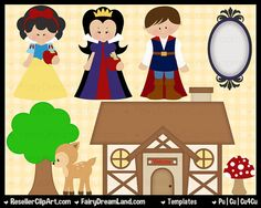 Snow White Templates Layered Psd  Commercial by ResellerClipArt, $7.00