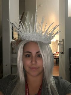 DIY ice queen crown ~frosted glitter ~round plate ~hot glue gun ~hot glue stick •frosted glitter *epsom salt *fine iridescent glitter *course white/silver crown •crown ~ turn plate upside down and follow the small circle with the hot glue gun about 10 times ~let dry and peel off •icicles ~ on back of plate with hot glue gun make different size triangles or icicle shapes ~sprinkle in frosted glitter ~let dry and peel off ~make ALOT of these •bringing it together ~start gluing the icicles to…