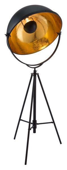 Vauxhall Film Production Style Floor Lamp in Antique Black Metal & Brushed Bronze