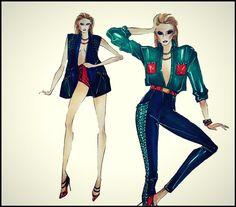Mariana Cino fashion schetch inspired by Balmain #fashionillustration #fashion #illustration #pinterest #balmain #mywork #colors #blue #green #fashiondesigner #marianacino #pinterest #pic