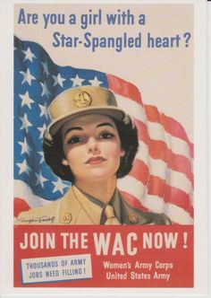POSTCARD-WW2-US-Poster-Join-the-WAC-Now-Womens-Army-Corps-Star-Spangled-Heart