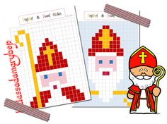 PixelArt de Saint Nicolas Last Christmas, Christmas Crafts, Christmas Ornaments, Pixel Art, Catholic Religion, 2d Art, Edd, Craft Activities, Art Education