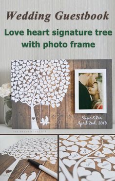 Signature tree guestbook. This one's different--it has a photo frame you can have three different kinds (oak, black, white) and you can choose the background (there are 30...it doesn't have to look like wood). Decent price, too.