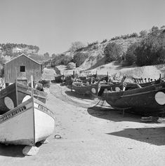 Photo by Artur Pastor of Sesimbra beach 1950s-1960s Portugal, Boat Shed, Portuguese, Monochrome, Sailing, Sea, Black And White, Flamingo, Photography