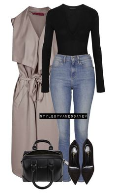 """""""#695"""" by vanessayev ❤ liked on Polyvore featuring Donna Karan, Topshop, Gianvito Rossi and Givenchy"""