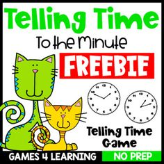 Free Time Game: Telling Time to the Minute Game by Games 4 Learning Telling Time Games, Telling Time Activities, Minute Game, The Minute, Math Board Games, Math Games, Place Value Games, Division Games, Student Reading