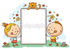 Cartoon kids with a frame with copy space — Stock Vector #80237876