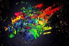 Splatter Melted Crayon Art.