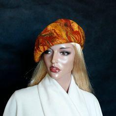 Multicolor berretto infeltrito Nunofelt nuno feltro berretto basco francese seta lana berretto Designer cappello, Designer beret accessori donna